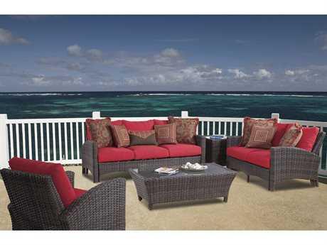 South Sea Rattan Patio Done Quick Wicker 6 Person Cushion Conversation Patio Lounge Set