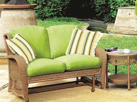 South Sea Rattan Riviera Wicker 2 Person Cushion Conversation Patio Lounge Set