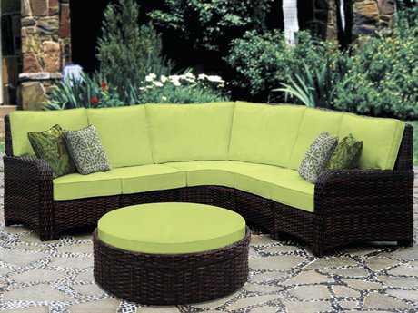 South Sea Rattan Saint Tropez Wicker 6 Person Cushion Sectional Patio Lounge Set