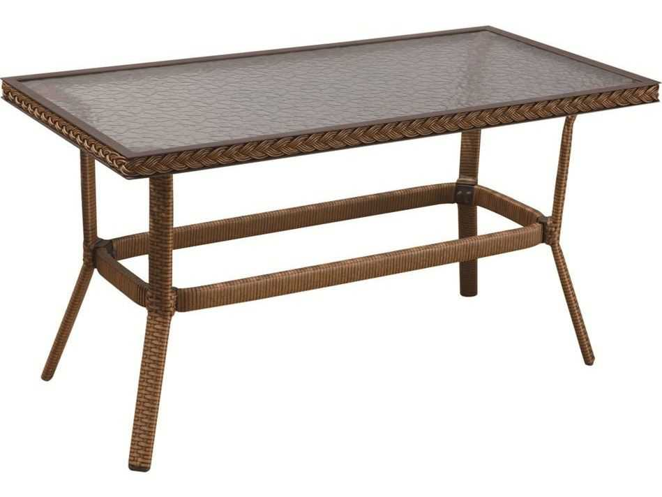 Suncoast Kona Wicker Rectangular Glass Coffee Table 123 T2040
