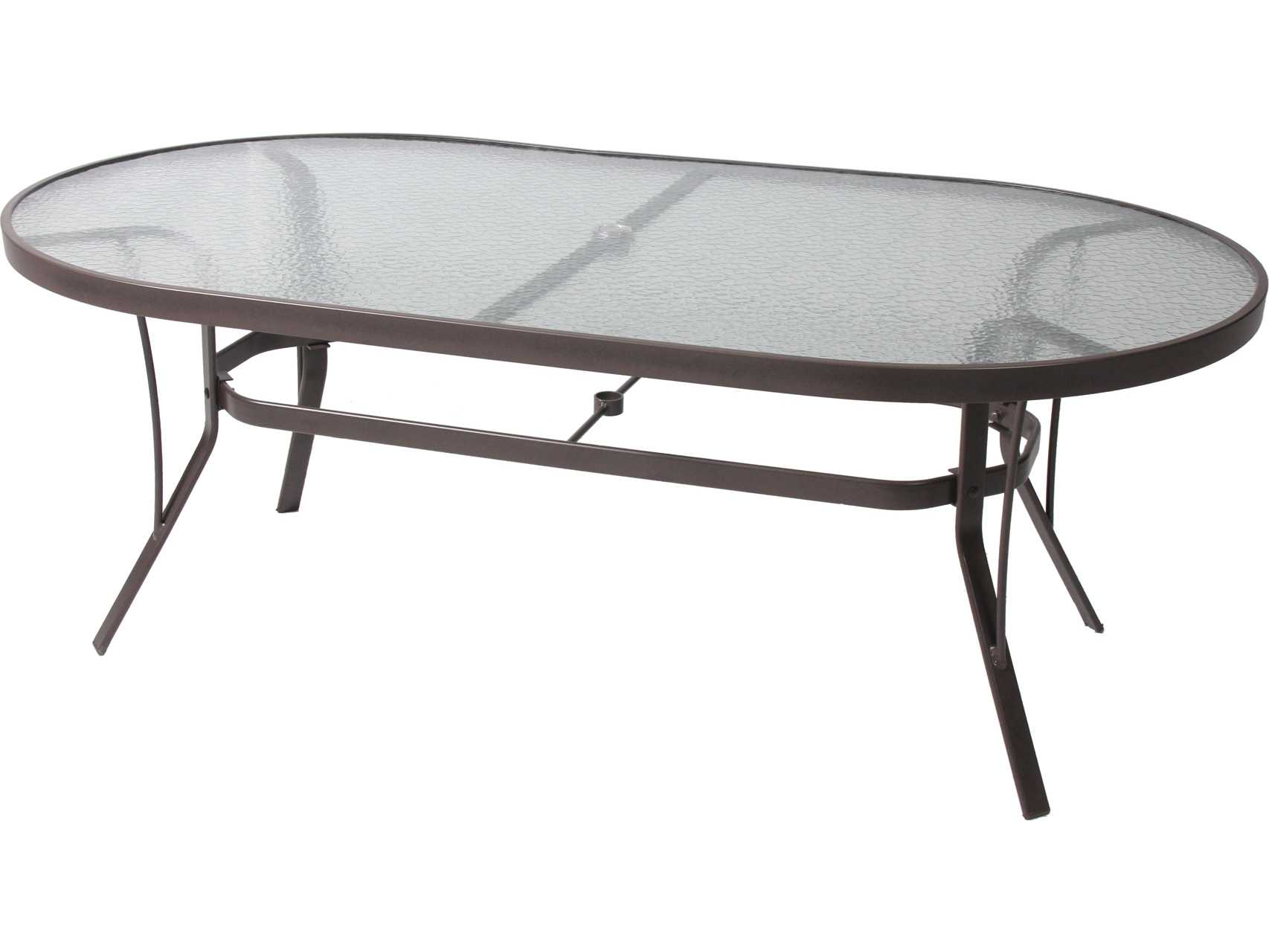 Suncoast cast aluminum 76 39 39 x 42 39 39 oval glass top dining for Oval glass dining table