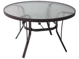 Suncoast Cast Aluminum 42 Round Glass Dining Table with Umbrella Hole