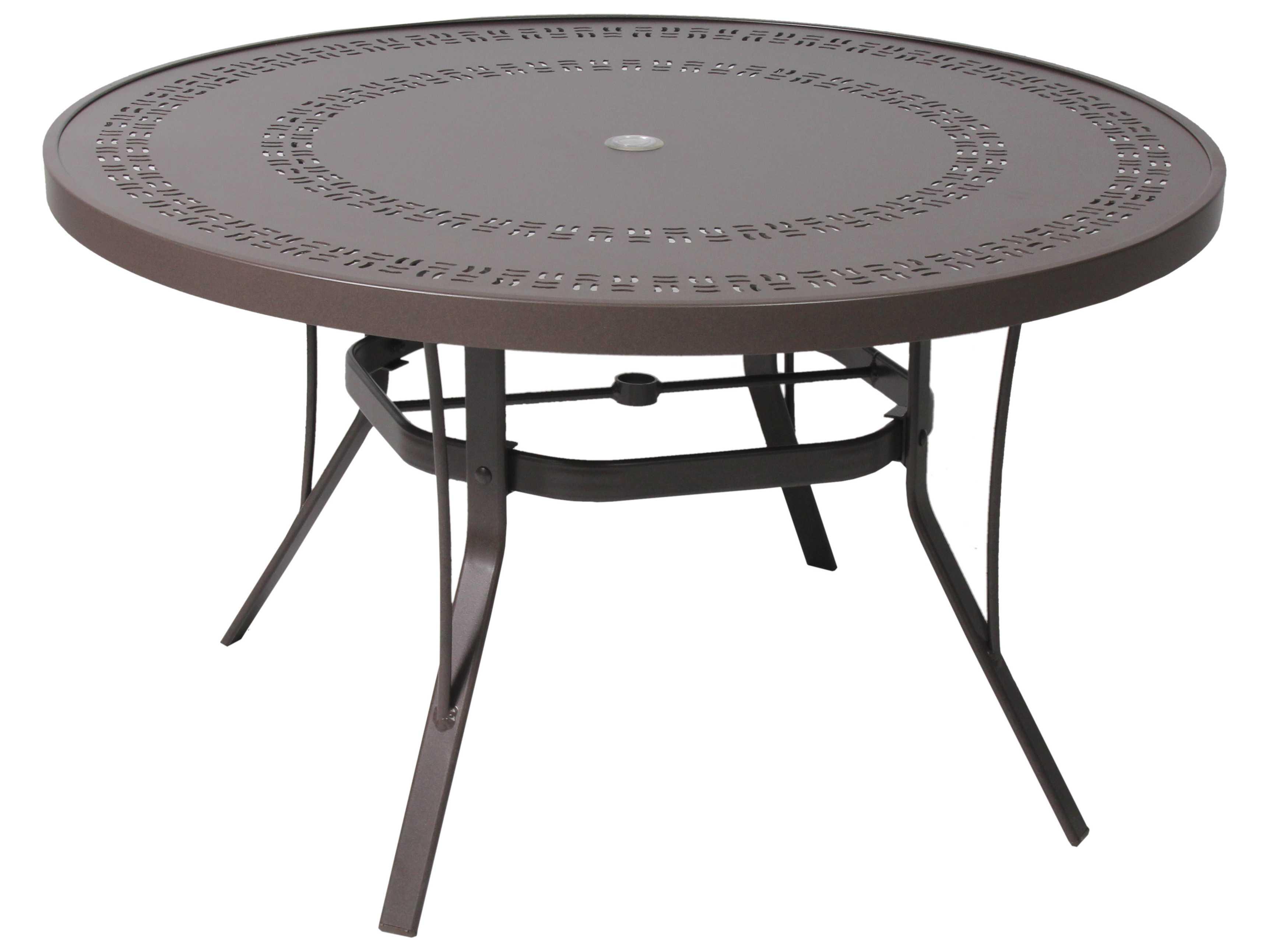 Suncoast patterned wave aluminum 48 39 39 round metal dining - Aluminium picnic table with umbrella ...