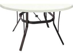 Suncoast Welded Fiberglass Cast Aluminum 48 Round Dining Table with Umbrella Hole