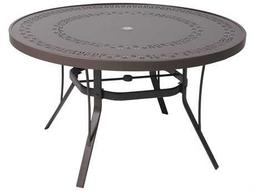 Suncoast Patterned Square Aluminum Round Metal Dining Table with Umbrella Hole Dia. 48 x 27H