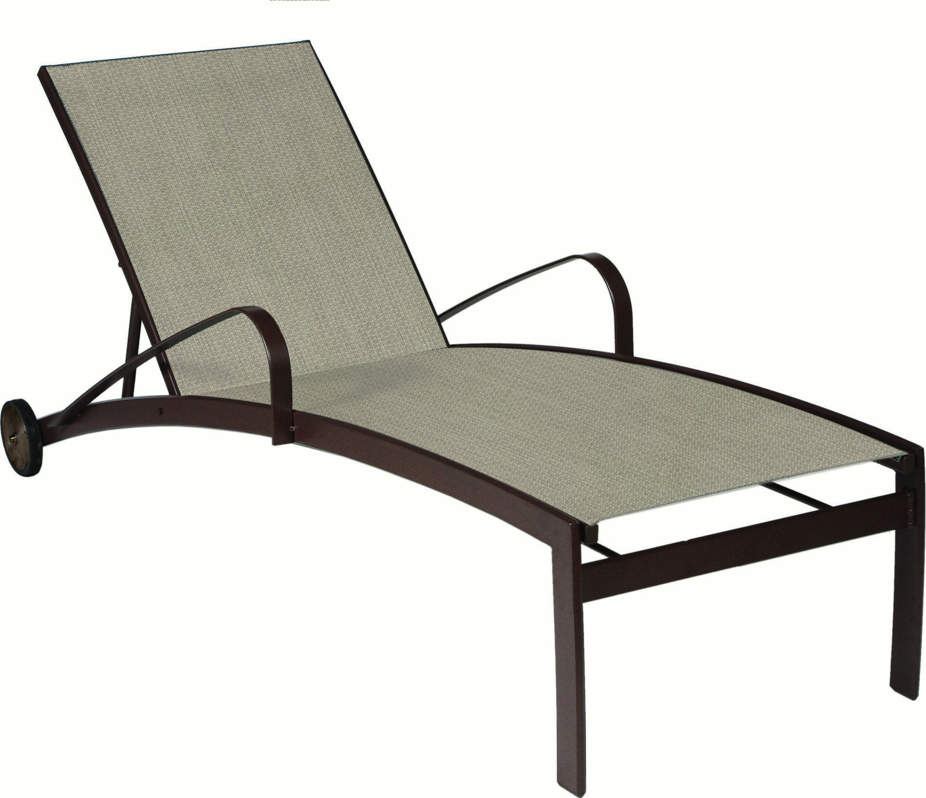 Suncoast vision sling cast aluminum chaise lounge with for Aluminum chaise lounge with wheels