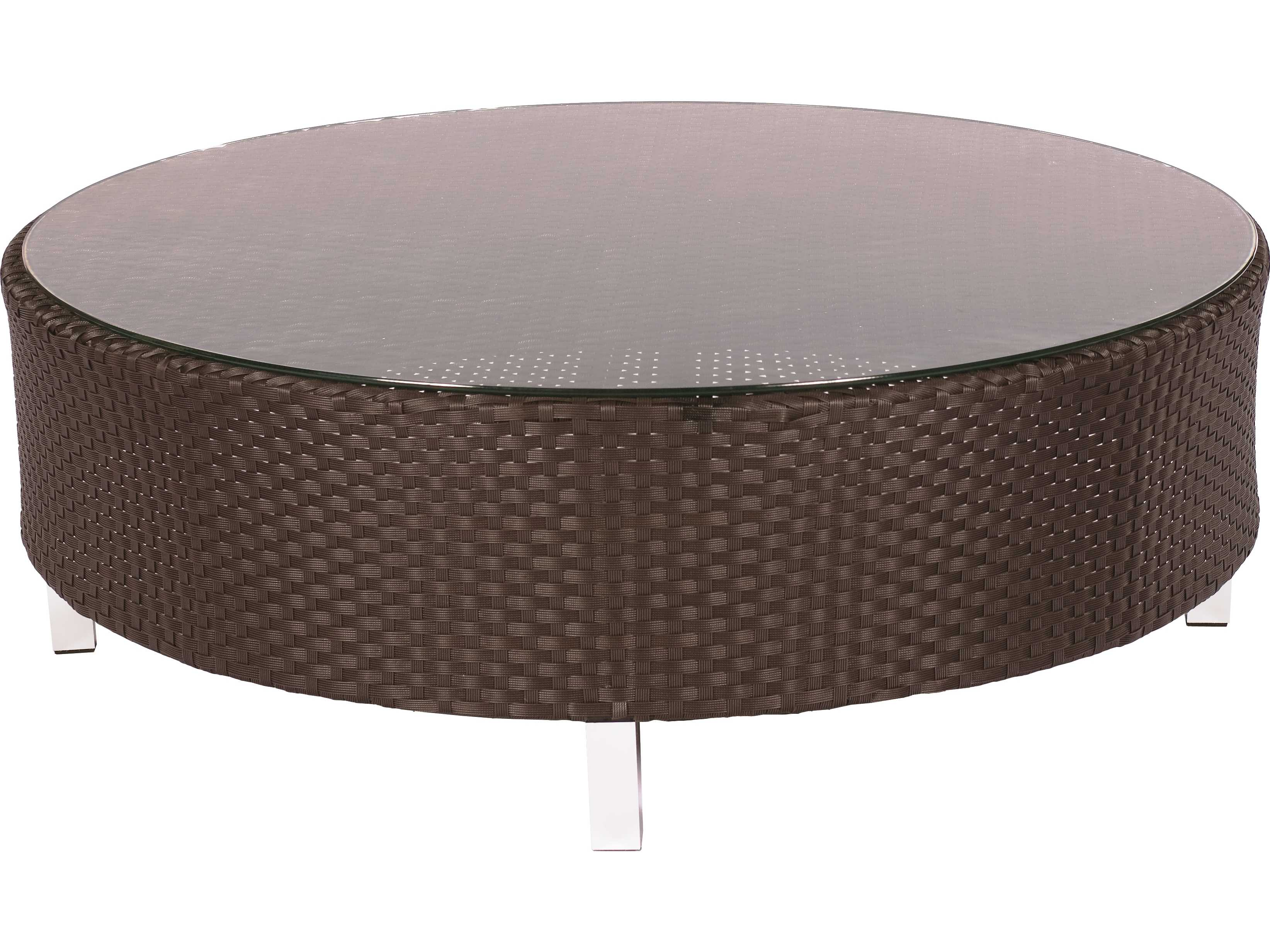 Suncoast Radiate Arc Wicker 48 39 39 Round Glass Coffee Table D652