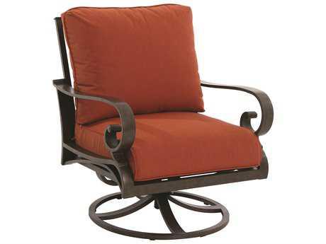 Sunvilla Riva Aluminum Spanish Gold Swivel Chair w/ Full Cushion (Sold in 2)