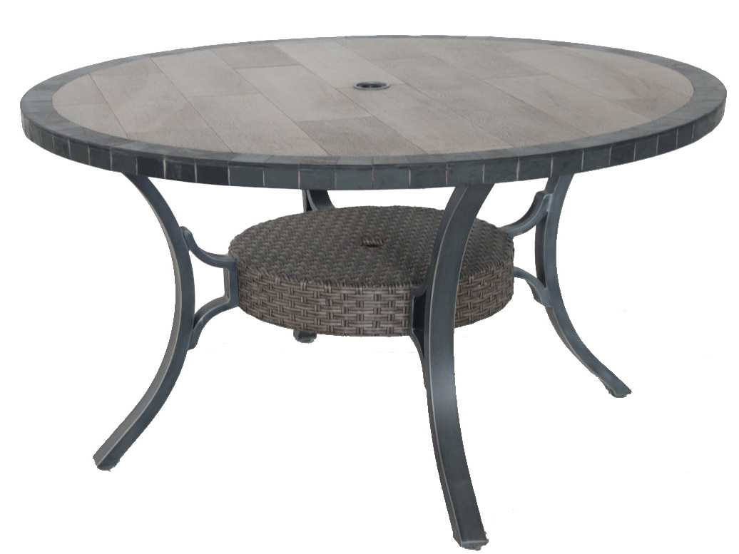 Sunvilla belize aluminum 54 round stone top dining table for Round stone top dining table