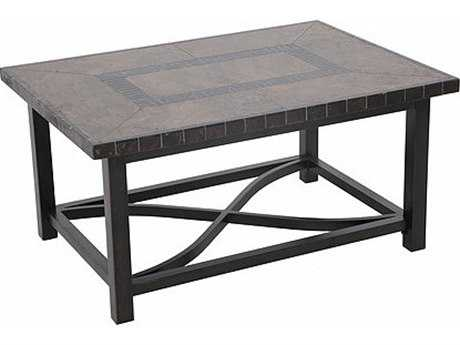 Sunvilla Pennant Aluminum 44 X 32 Rectangular Stone Top Coffee Table In Mahogany
