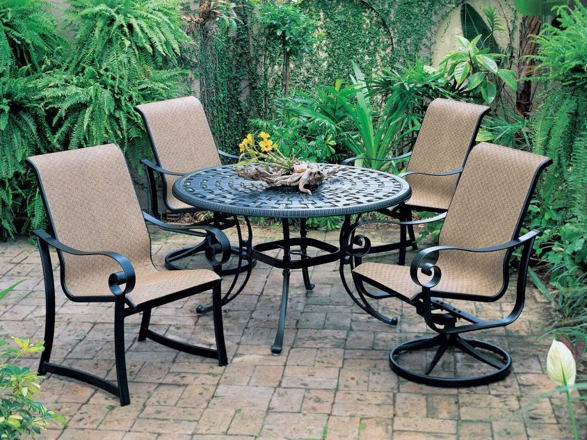 Suncoast Basketweave Cast Aluminum 48 Round Dining Table