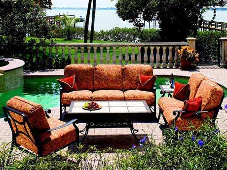 Suncoast Rendezvous Cushion Cast Aluminum 6 Person Cushion Conversation Patio Lounge Set
