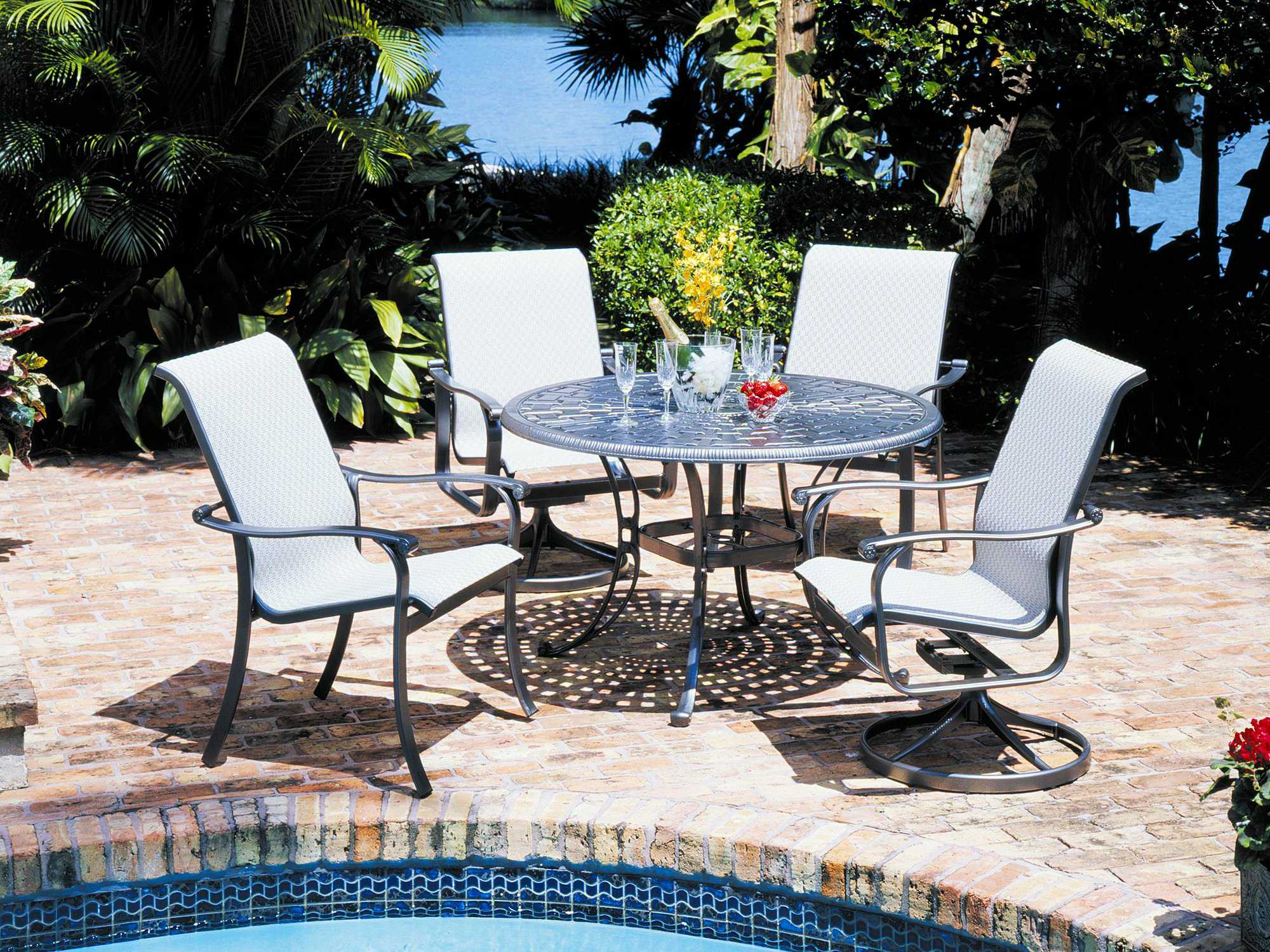 Suncoast Santa Rosa Sling Cast Aluminum High Back Swivel