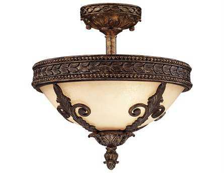 Savoy House Olde World Corsica New Tortoise Shell Three-Light Semi-Flush Mount Light