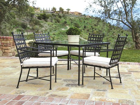 Sunset West Provence Wrought Iron 4 Person Cushion Casual Patio Dining Set