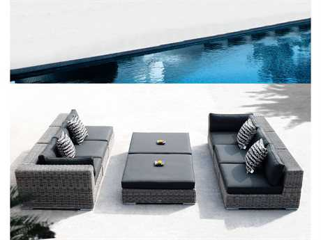 Sunset West Emerald Wicker 6 Person Wicker Sectional Patio Lounge Set