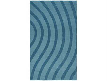 St. Croix Transitions Modern Blue Hand Made Wool Stripes 5' x 8' Area Rug - CLT50001