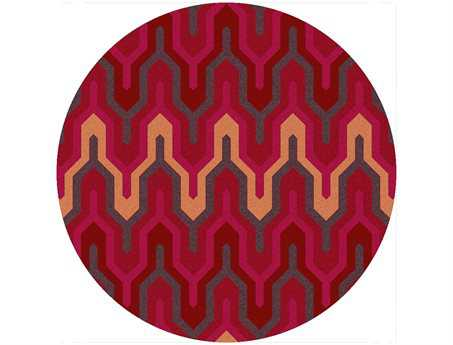 Surya Brentwood Transitional Red Hand Made Synthetic Geometric Round 4' Area Rug - BNT7701-4RD