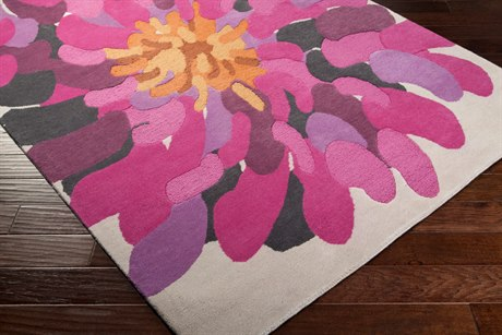 Surya Bombay Modern Purple Hand Made Wool Floral/Botanical 2' x 3' Area Rug - BST529-23
