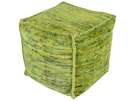 Surya Bazaar Cube Lime Emerald/Kelly Green Gold Light Gray Forest & Lime Pouf
