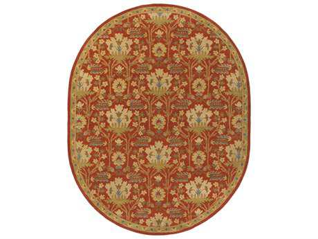 Surya Caesar Traditional Red Hand Made Wool Floral/Botanical Oval 6' x 9' Area Rug - CAE1159-69OV