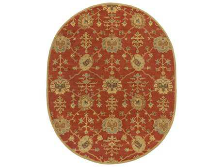 Surya Caesar Traditional Orange Hand Made Wool Floral/Botanical Oval 6' x 9' Area Rug - CAE1169-69OV