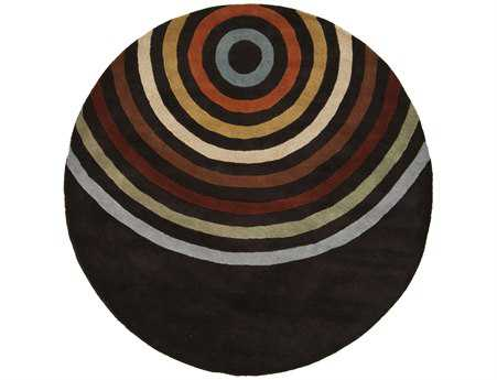 Surya Forum Modern Black Hand Made Wool Geometric Round 4' Area Rug - FM7138-4RD
