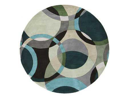 Surya Forum Modern Green Hand Made Wool Geometric Round 4' Area Rug - FM7157-4RD