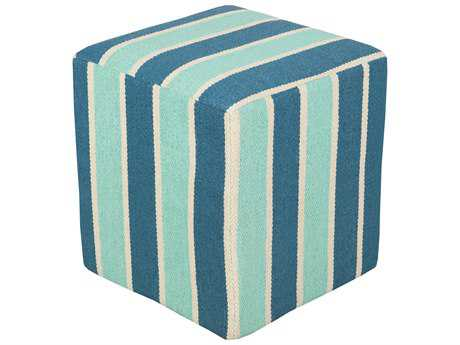 Surya Picnic Cube Teal Mint & Ivory Pouf