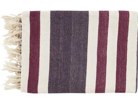 Surya Troy 50'' x 70'' Eggplant Ivory & Magenta Throw