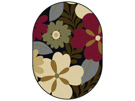 Tayse Laguna Transitional Red Machine Made Jute Floral/Botanical Area Rug- 04520-MULTI-OVA