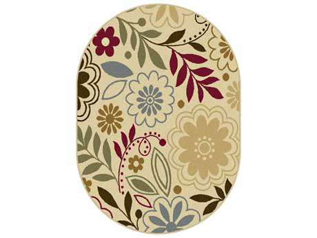Tayse Laguna Transitional Beige Machine Made Jute Floral/Botanical Area Rug- 04542-BEIGE-OVA