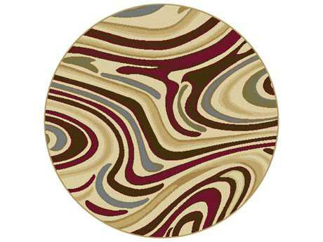 Tayse Laguna Transitional Beige Machine Made Jute Abstract 5'3'' Round Area Rug - 4602 Multi 6' Round