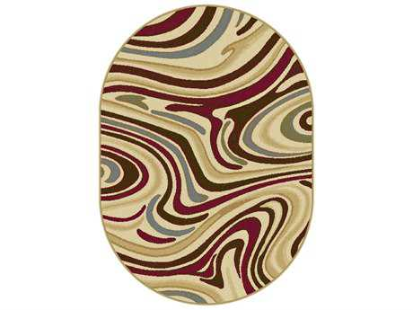 Tayse Laguna Transitional Beige Machine Made Jute Abstract Area Rug- 04602-MULTI-OVA