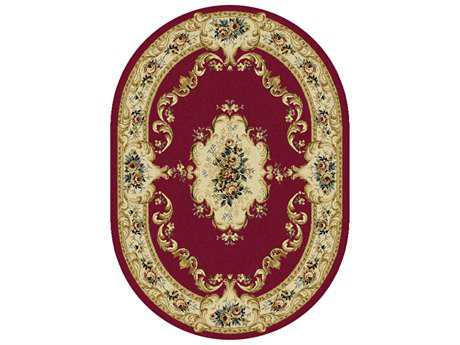 Tayse Laguna Transitional Red Machine Made Jute Floral/Botanical Area Rug- 04610-RED-OVA