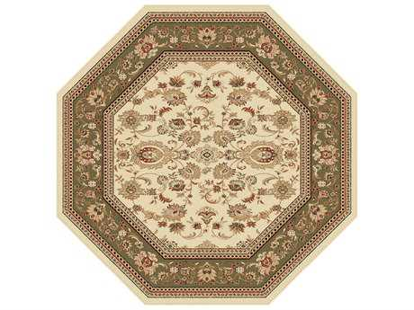 Tayse Sensation Transitional Beige Machine Made Jute Oriental 5'3'' Octagon Area Rug - 4722 Ivory 6' Octagon