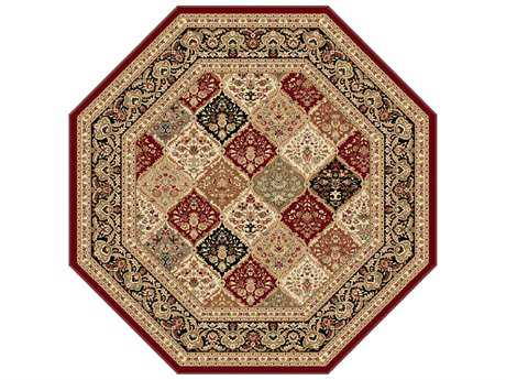 Tayse Sensation Transitional Red Machine Made Jute Oriental 5'3'' Octagon Area Rug - 4770 Red 6' Octagon
