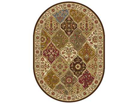 Tayse Elegance Transitional Beige Machine Made Jute Abstract 5'3'' X 7'3'' Oval Area Rug - 5120 Multi 5x8 Oval