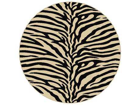Tayse Elegance Transitional Beige Machine Made Jute Animals/Animal Print 5'3'' Round Area Rug - 5162 Ivory 6' Round
