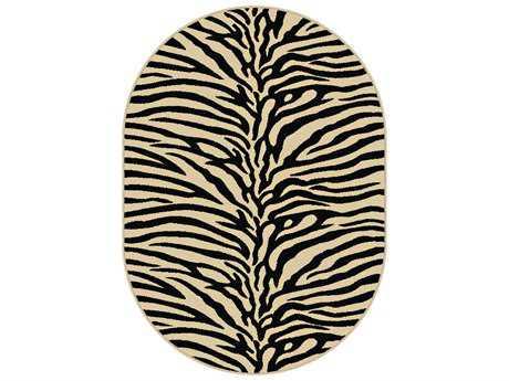 Tayse Elegance Transitional Beige Machine Made Jute Animals/Animal Print 5'3'' X 7'3'' Oval Area Rug - 5162 Ivory 5x8 Oval