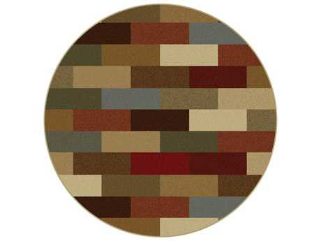 Tayse Elegance Transitional Beige Machine Made Jute Abstract 5'3'' Round Area Rug - 5180 Multi 6' Round