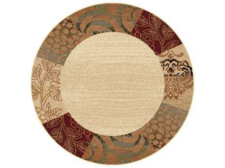 Tayse Elegance Transitional Beige Machine Made Jute Floral/Botanical 5'3'' Round Area Rug - 5202 Ivory 6' Round