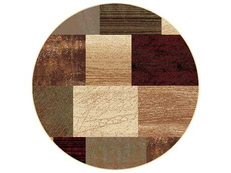 Tayse Elegance Transitional Beige Machine Made Jute Geometric 5'3'' Round Area Rug - 5210 Multi 6' Round