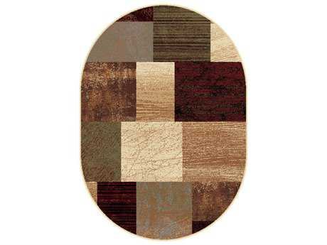 Tayse Elegance Transitional Beige Machine Made Jute Geometric 5'3'' X 7'3'' Oval Area Rug - 5210 Multi 5x8 Oval