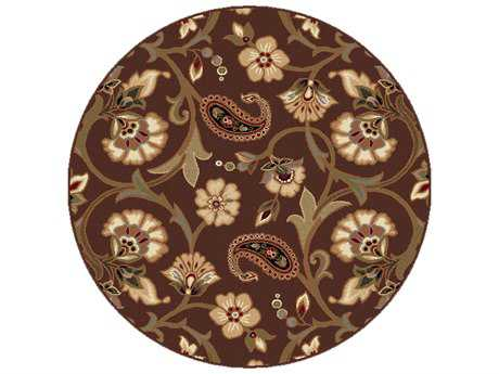 Tayse Elegance Transitional Brown Machine Made Jute Floral/Botanical 5'3'' Round Area Rug - 5328 Brown 6' Round