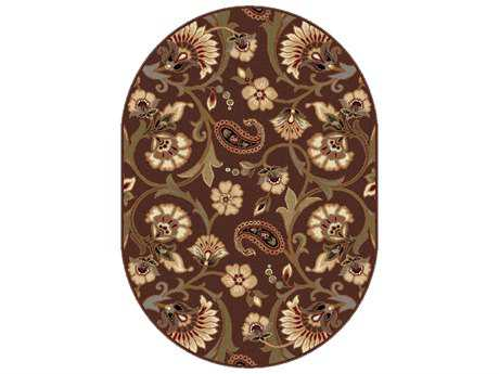 Tayse Elegance Transitional Brown Machine Made Jute Floral/Botanical 5'3'' X 7'3'' Oval Area Rug - 5328 Brown 5x8 Oval