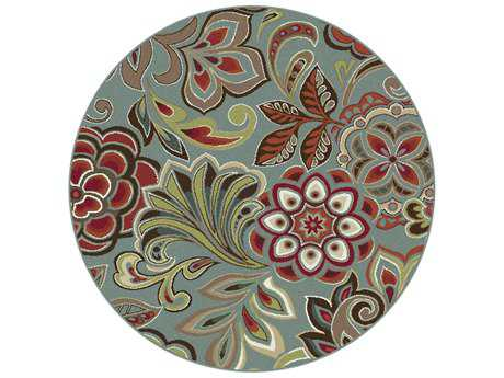 Tayse Deco Transitional Green Machine Made Jute Floral/Botanical 5'3'' Round Area Rug - DCO1023 6RND