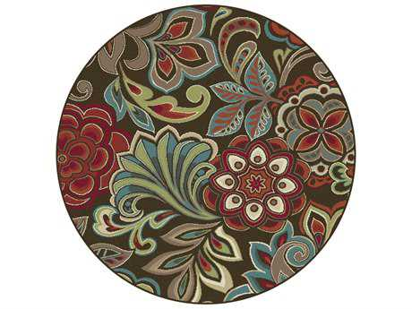 Tayse Deco Transitional Brown Machine Made Jute Floral/Botanical 5'3'' Round Area Rug - DCO1024 6RND