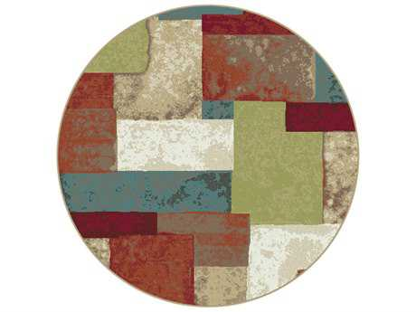 Tayse Deco Transitional Red Machine Made Jute Abstract 5'3'' Round Area Rug - DCO1027 6RND