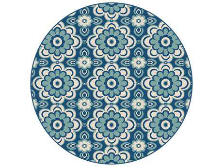 Tayse Garden City Transitional Blue Machine Made Jute Floral/Botanical Area Rug- 0GCT1018-ROU